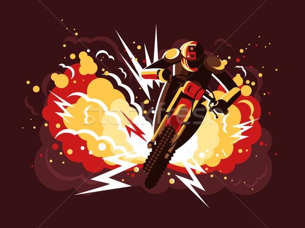 Foto stock: Motocicleta · casco · fuego · explosión · hombre · deporte
