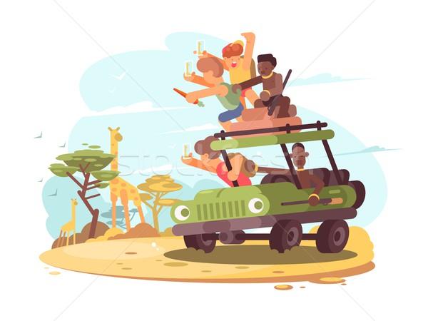 Grupo turistas safari jirafa vector Foto stock © jossdiim