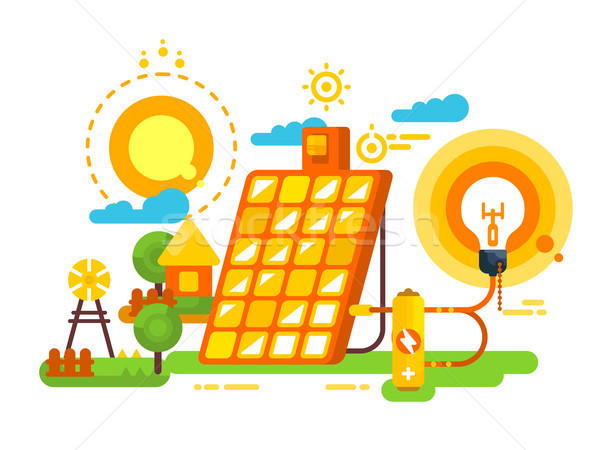 Zonne batterij verlichting energie ontwerp milieu Stockfoto © jossdiim