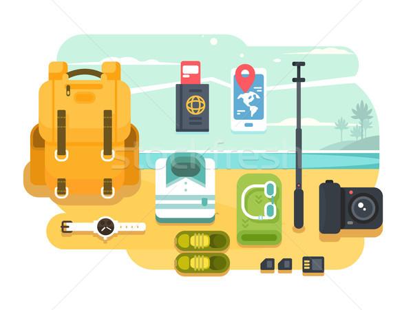 Reise Urlaub Zubehör Design Mobiltelefon Rucksack Stock foto © jossdiim