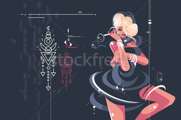 Fată întuneric rochie ochelari destul de Imagine de stoc © jossdiim