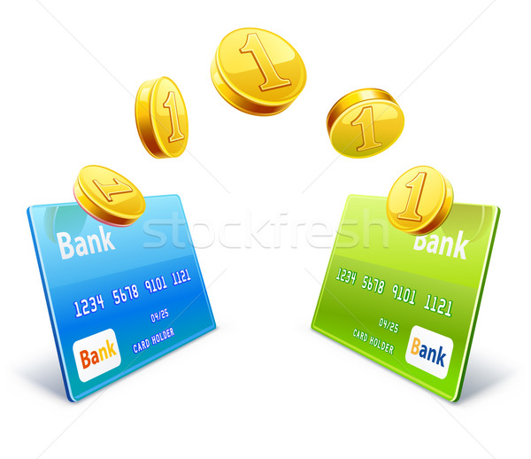 Stock photo: Money transfer from card to card
