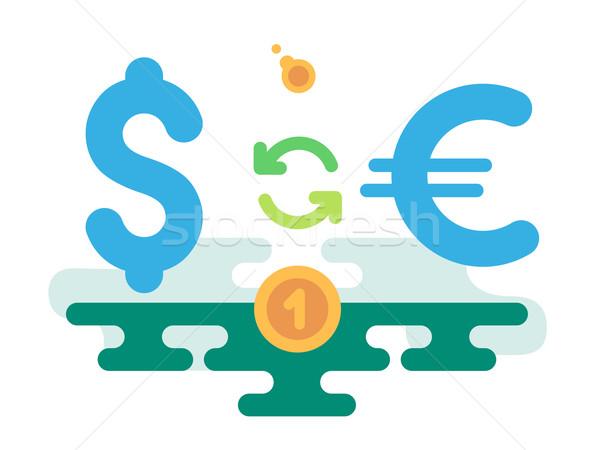 Dollar euro valuta uitwisseling abstract ontwerp Stockfoto © jossdiim