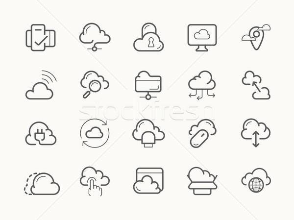 Nube servizio server hosting line icone Foto d'archivio © jossdiim