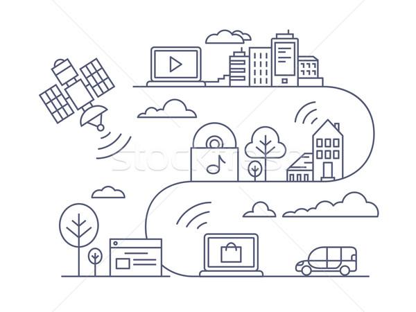 通信 接続 インターネット ネットワーク 通信 行 ストックフォト © jossdiim