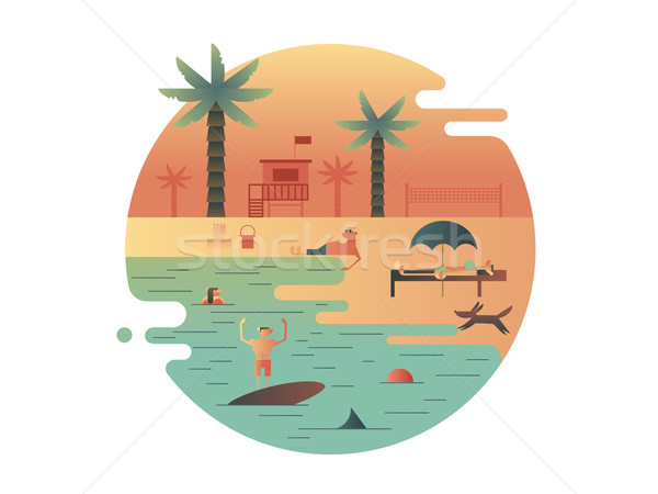 Beach icon with palm and people Stock photo © jossdiim