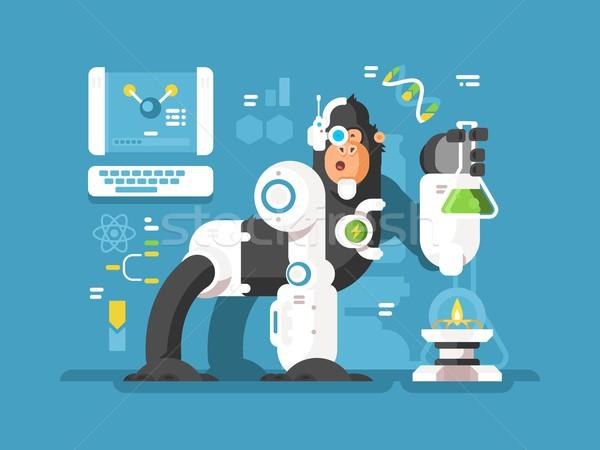Robot monkey scientist Stock photo © jossdiim