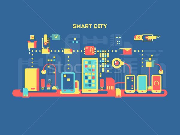 Stock fotó: Okos · város · technológia · kommunikáció · internet · számítógép