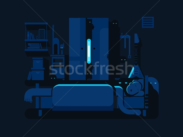 Bedroom mystic flat design Stock photo © jossdiim