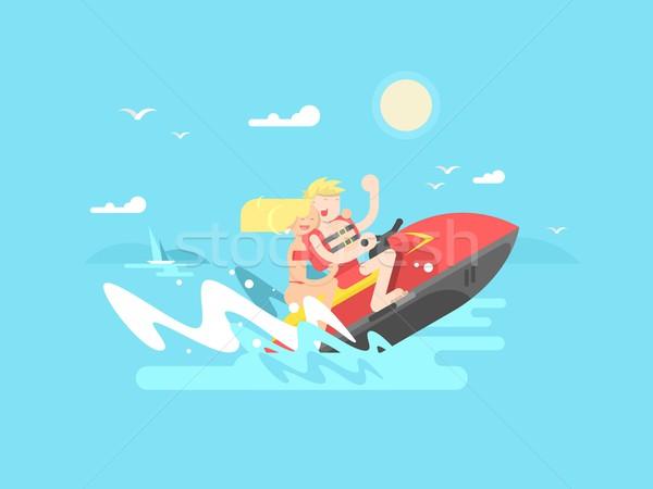 Pareja mar vacaciones de verano deporte barco viaje Foto stock © jossdiim