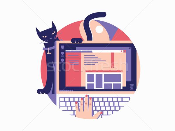 ブラウザ デザイン ノートパソコン ウィンドウ オープン ウェブ ストックフォト © jossdiim
