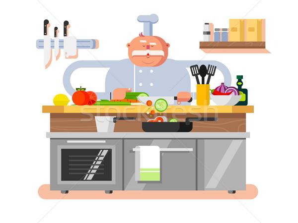Kok karakter man chef beroep cartoon Stockfoto © jossdiim