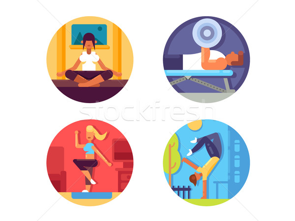 Fitness for healthy life icons set Stock photo © jossdiim