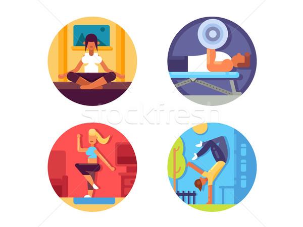 Fitnessz egészséges élet ikon szett tornaterem jóga aerobik Stock fotó © jossdiim