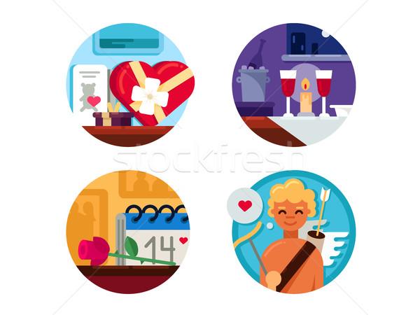 Valentine Day set of icons Stock photo © jossdiim