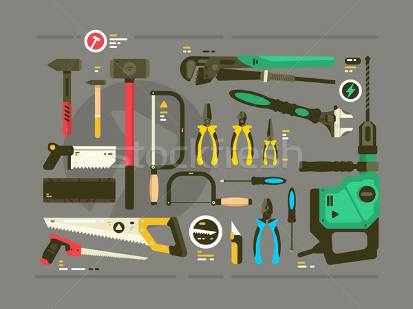 Set of tools for construction and repair Stock photo © jossdiim