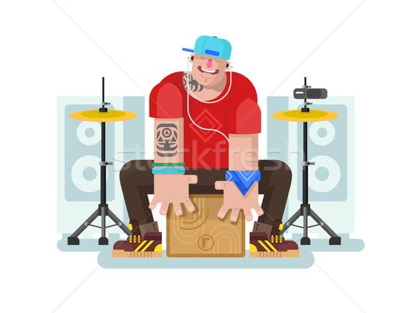барабанщик играть барабан музыку прослушивании Сток-фото © jossdiim