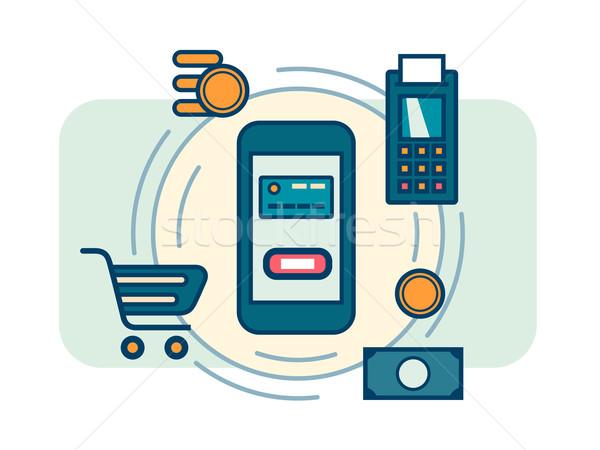 Móviles pago dinero tecnología transferir Foto stock © jossdiim