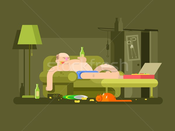 Lazybones character design flat Stock photo © jossdiim