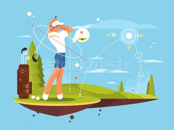 мужчины гольфист играет гольф траектория дерево Сток-фото © jossdiim