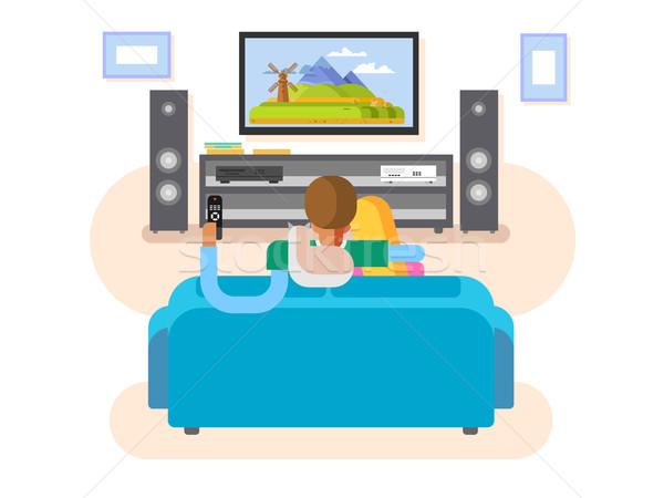Interieur home cinema huis meubels film tv Stockfoto © jossdiim