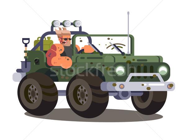Driver man controls SUV car Stock photo © jossdiim