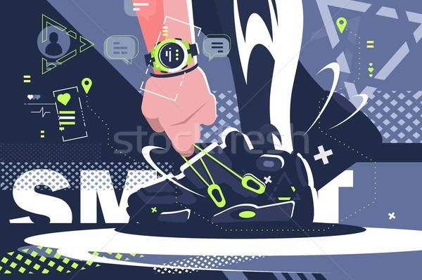 Foto stock: Inteligentes · ver · fitness · comunicación · deportes
