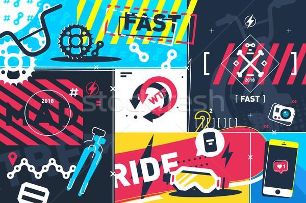 Экстрим аннотация быстро спорт городского велосипед Сток-фото © jossdiim