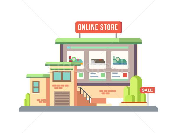 Online Shop Building Flat Design Stock photo © jossdiim