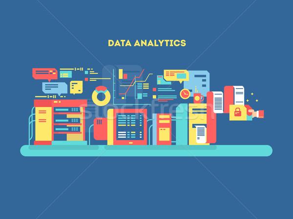 Gegevens analytics ontwerp web technologie beheer Stockfoto © jossdiim