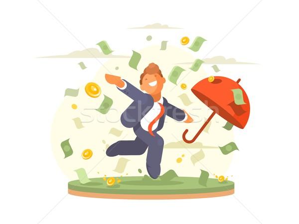 бизнесмен деньги дождь успешный монетами банкнота Сток-фото © jossdiim