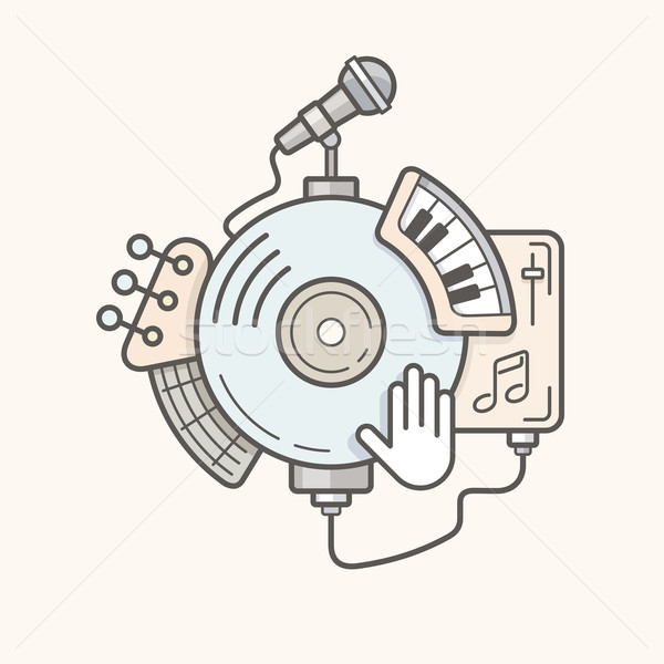 Abstract music tools line icon Stock photo © jossdiim