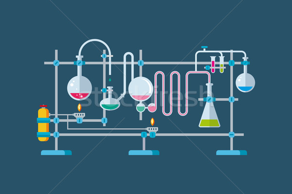 Chemical Laboratory Equipment Objects with a Series of Flasks and Beakers Various Shapes Stock photo © jossdiim