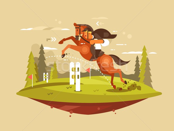Horse and rider jumping hurdles Stock photo © jossdiim