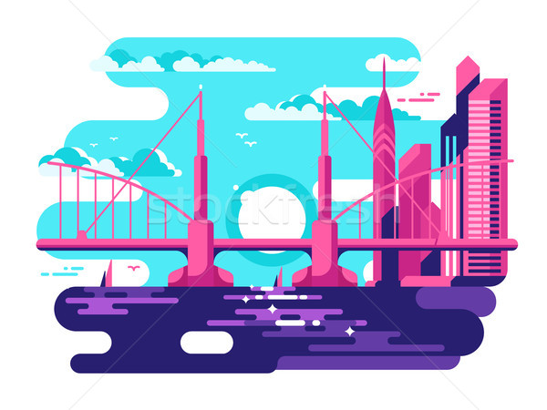 Modern urban bridge design flat Stock photo © jossdiim