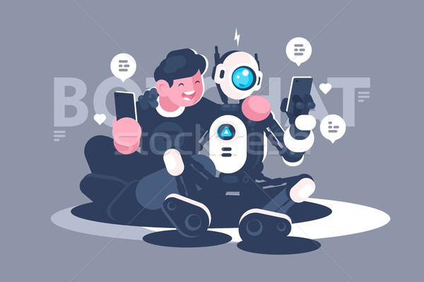 Chat bot helps man in his problem Stock photo © jossdiim