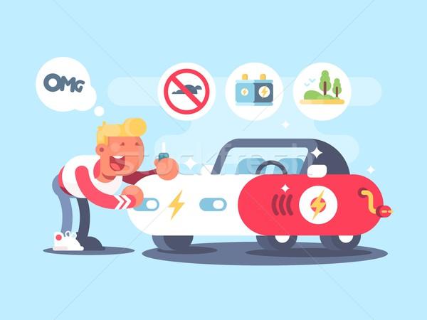Carro elétrico feliz proprietário vantagem elétrico veículo Foto stock © jossdiim