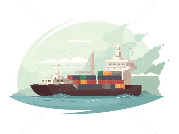 Navio porta-contentores mar carga oceano negócio projeto Foto stock © jossdiim