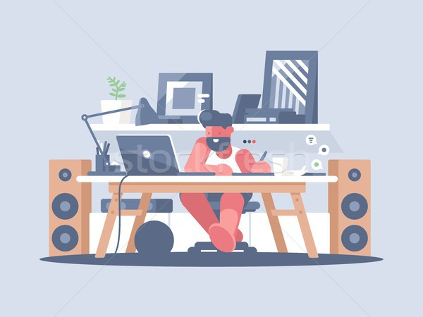 Freelancer works with laptop Stock photo © jossdiim