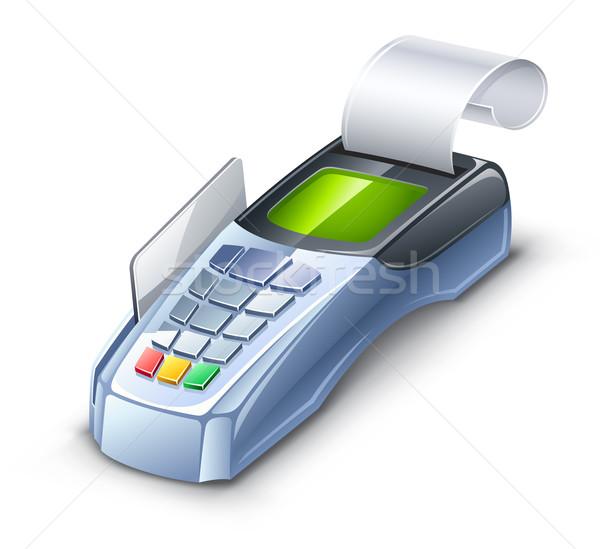 Kredi kartı okuyucu beyaz para alışveriş makine Stok fotoğraf © jossdiim