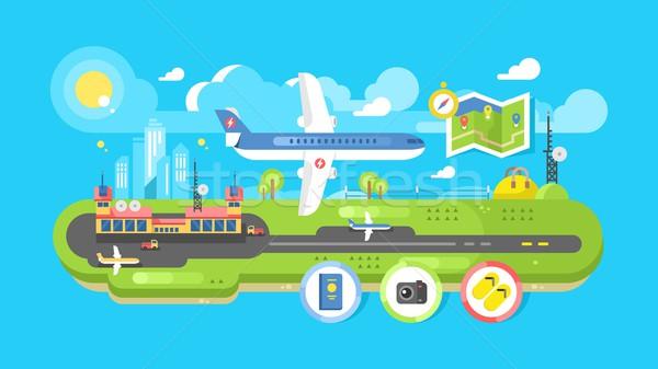 Stock fotó: Repülőtér · épület · infrastruktúra · utazás · levegő · szállítás