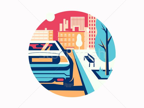 Autó út város közlekedés forgalom ház Stock fotó © jossdiim