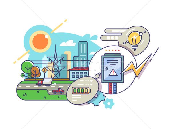 Foto stock: Energia · eletricidade · fornecer · atual · lâmpadas