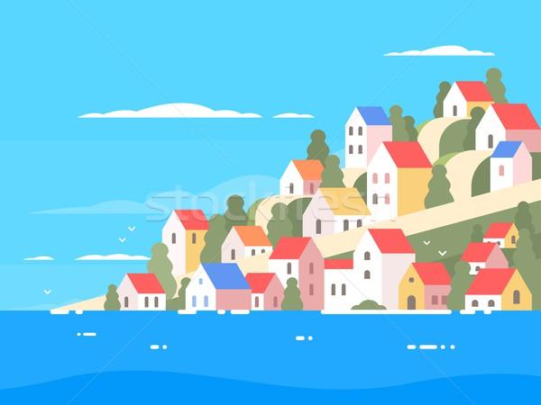 домах побережье Солнечный морем берега небе Сток-фото © jossdiim