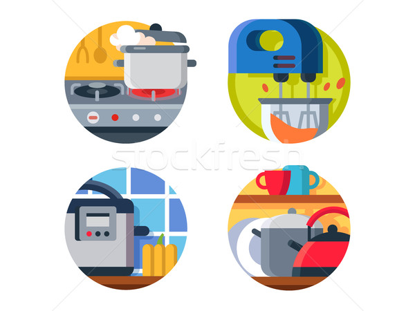 Cuisine icône poêle bouilloire steamer Photo stock © jossdiim