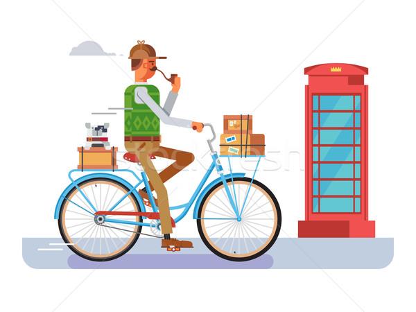 Retro carteiro bicicleta homem entrega serviço Foto stock © jossdiim
