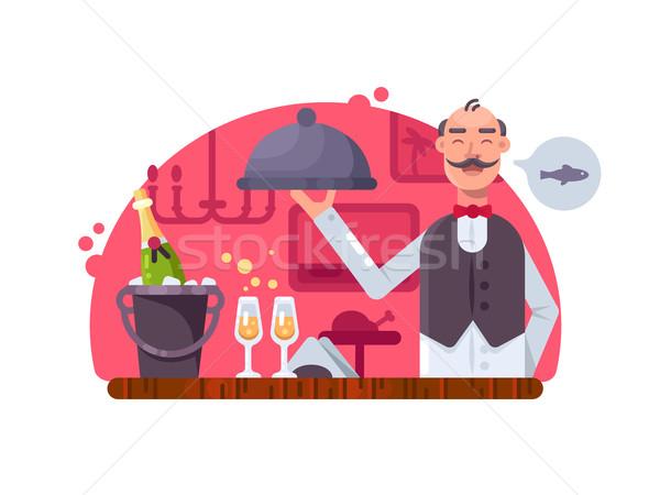 Waiter with dish near table Stock photo © jossdiim