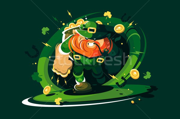 Angry leprechaun with gold Stock photo © jossdiim