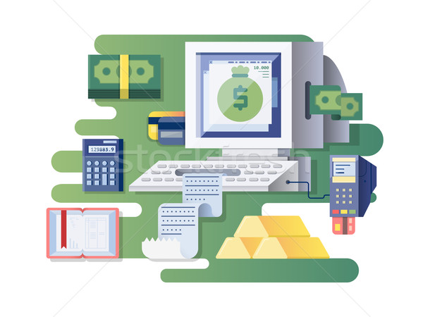 Financial computer cash register Stock photo © jossdiim