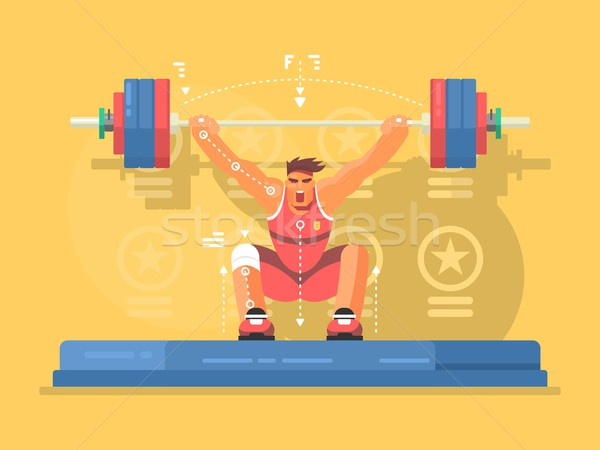 Weightlifting competitions flat design Stock photo © jossdiim